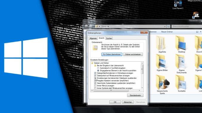 Windows 7 Dateiendungen anzeigen
