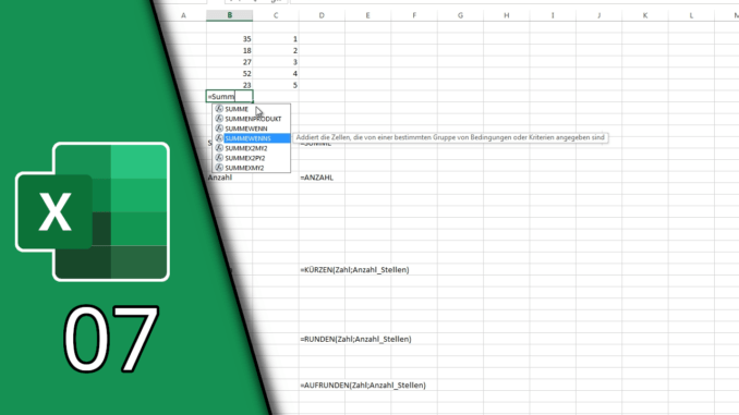 Excel Summenfunktion