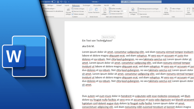 Word Fußnote einfügen
