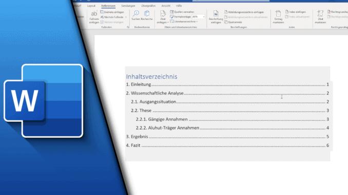 Word Inhaltsverzeichnis erstellen